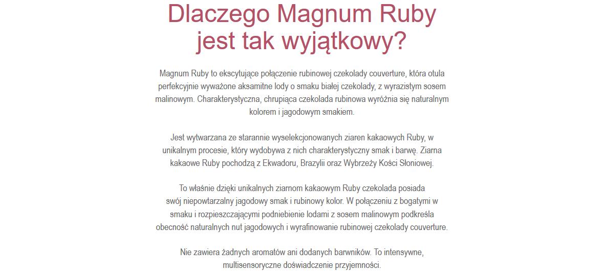 opis produktu magnum ruby